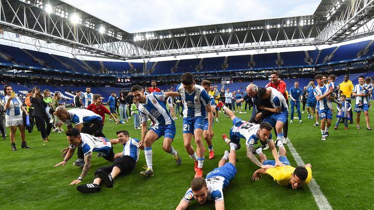 Espanyol celebrate getting a Europa League place
