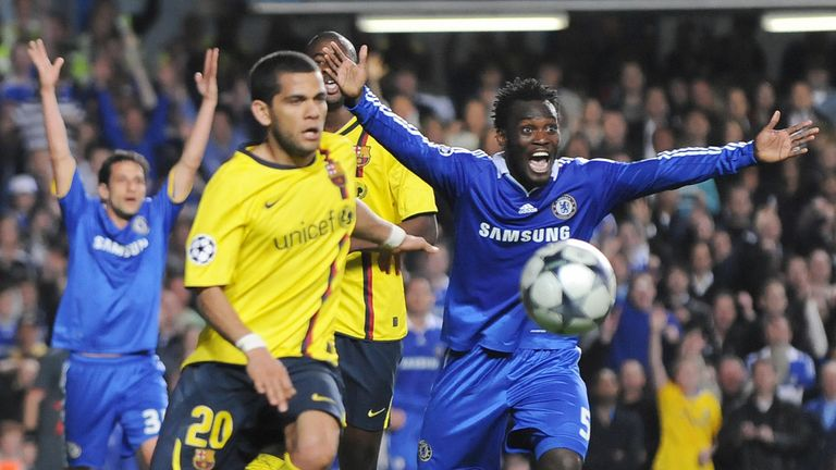 Essien appeals for handball against Gerard Pique but the calls fell on deaf ears