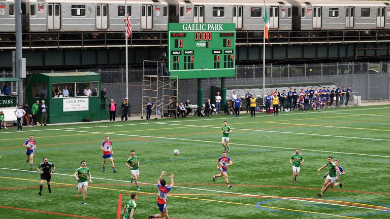 A railway line runs adjacent to the field at Gaelic Park, adding to the unique surrounds