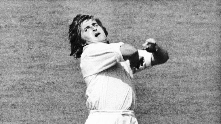 Australia's Gary Gilmour in action during the World Cup held at Kennington Oval, in 1975