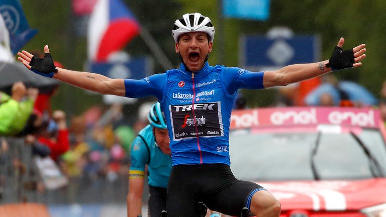 Giulio Ciccone delighted the home fans by claiming the 16th stage honours