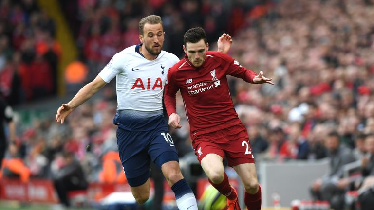 Harry Kane and Andy Robertson fight for the ball in the Anfield match
