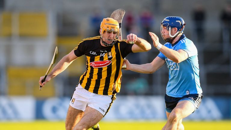 Colin Fennelly of Kilkenny in action against Sean Moran of Dublin during the Leinster GAA Hurling Senior Championship Round 1 match