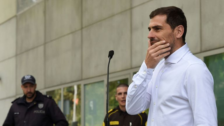 The Spain international addressed reporters outside hospital after being released