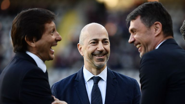 Former Arsenal CEO Ivan Gazidis (centre) is now chief executive at AC Milan