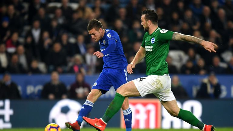 Leicester's Jamie Vardy and Brighton's Shane Duffy go head-to-head