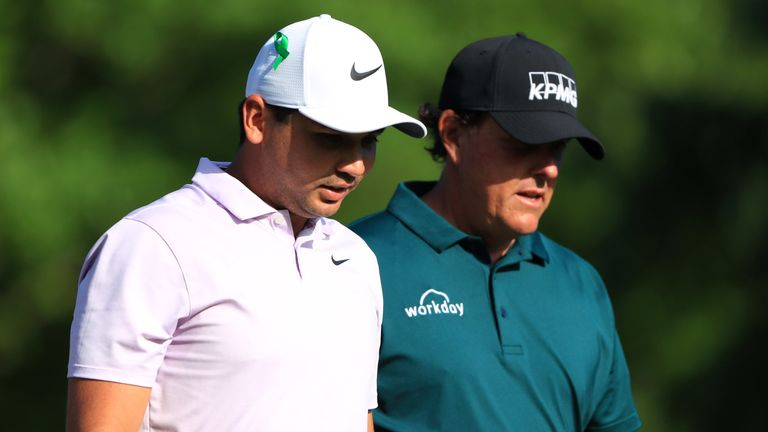 Day (left) played alongside Phil Mickelson (pictured) and Harold Varner III