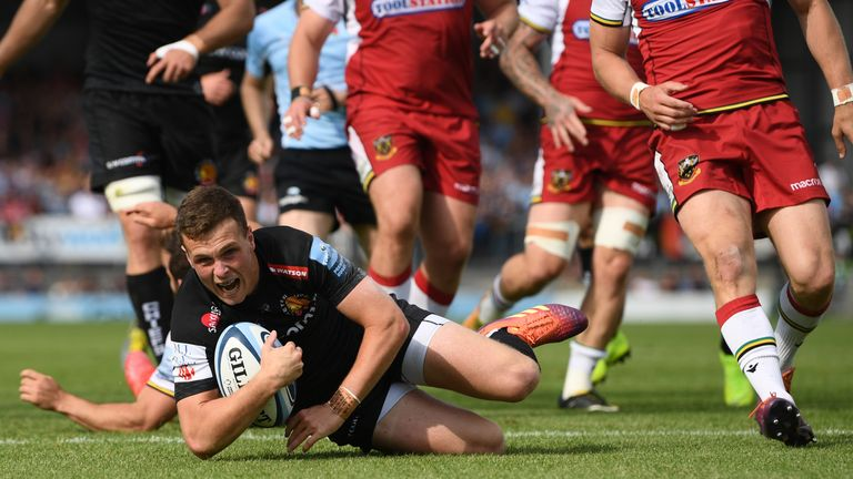 Joe Simmonds was one of two first half Exeter try scorers