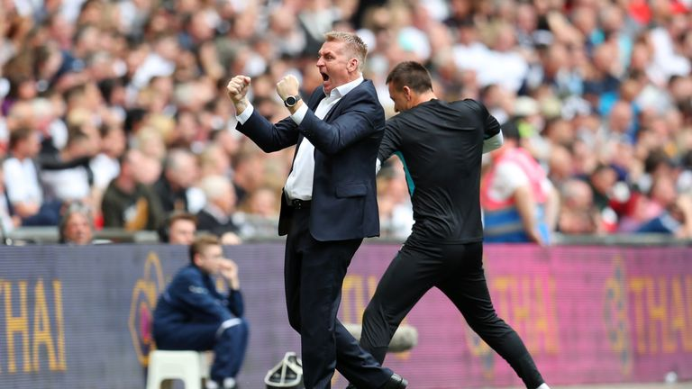 Villa manager Dean Smith and Terry celebrate during the play-off final