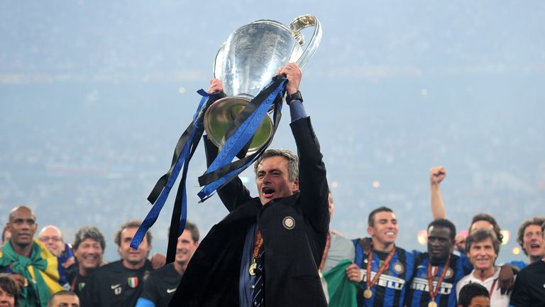 Jose Mourinho celebrates winning the Champions League with Inter Milan in 2010