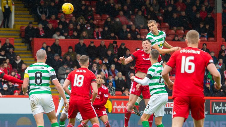 Celtic's Jozo Simunovic heads home to make it 2-0