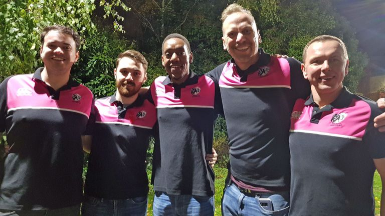 Macharia pictured with his team-mates from Bristol Bisons RFC, who have been campaigning against his deportation
