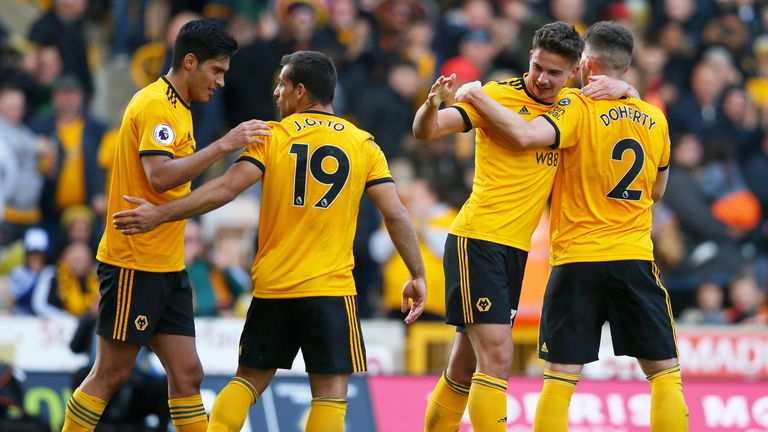 Leander Dendoncker celebrates after scoring the winner for Wolves