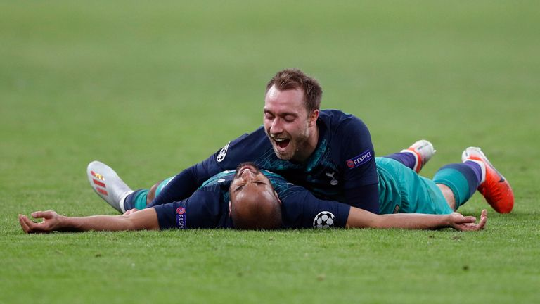 Lucas Moura celebrates with Christian Eriksen after his last-gasp winner