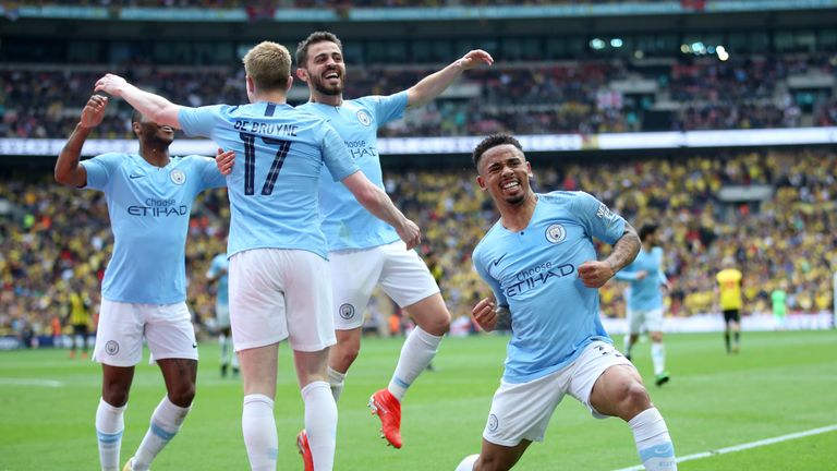 City celebrate their fourth goal at Wembley