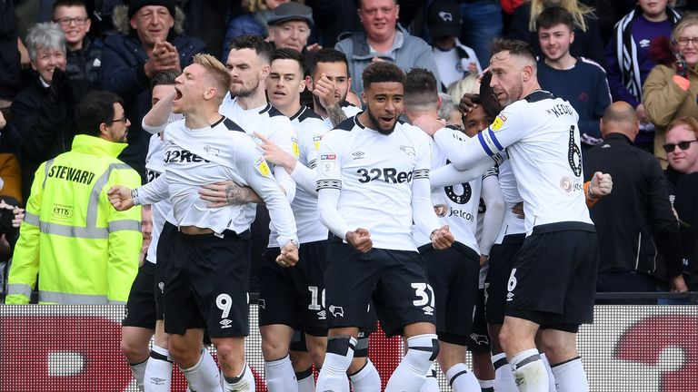 Martyn Waghorn celebrates with team-mates after scoring the opener against West Bromwich Albion