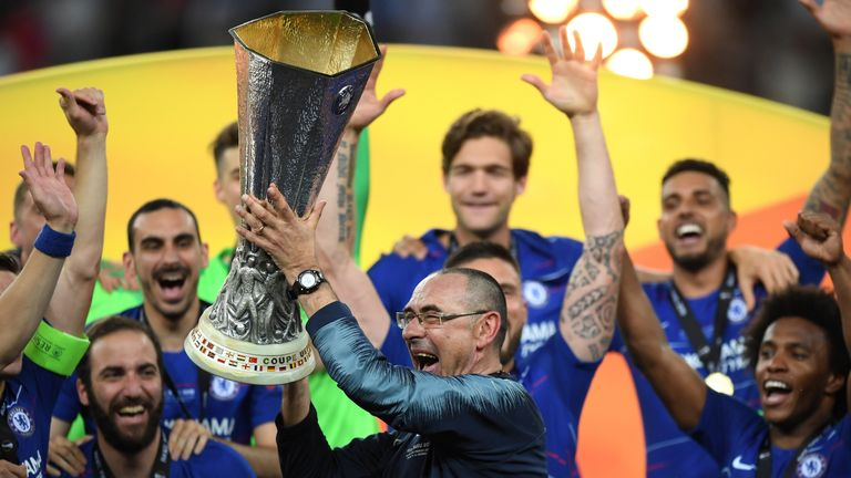 Sarri won the Europa League in his final game in charge with a 4-1 win against Arsenal