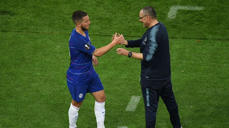 Eden Hazard and Maurizio Sarri shake hands as the forward is substituted in the Europa League final
