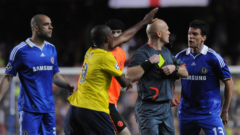 Michael Ballack was shown a late yellow card for protesting for handball