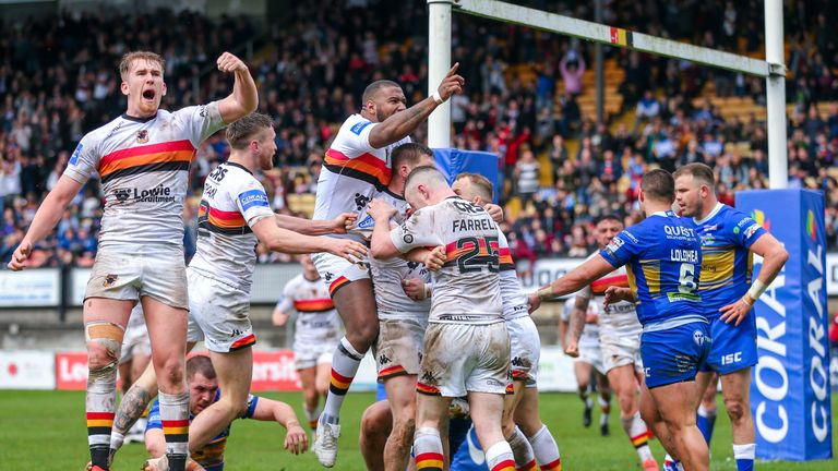 Bradford players celebrate Mikey Wood's try during a pulsating first half