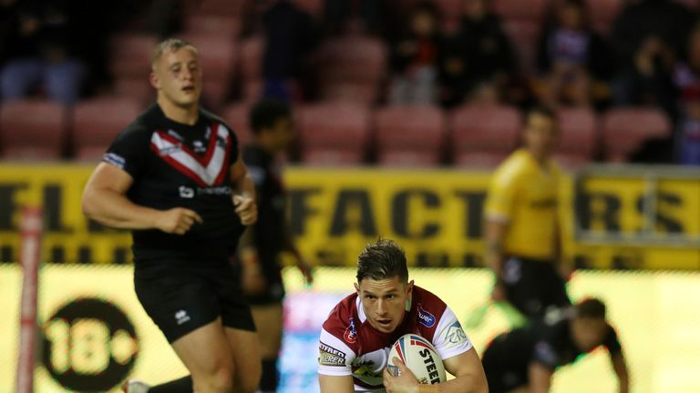 Morgan Escare goes over for Wigan's third try