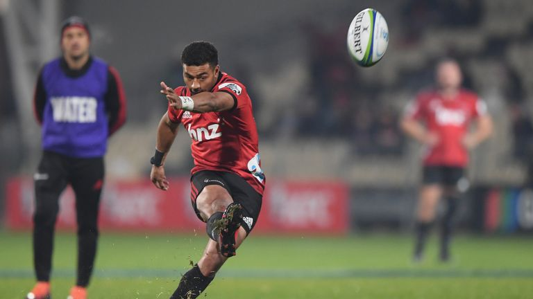 Richie Mo'unga kicked four penalties and a conversion as the Crusaders beat the Blues