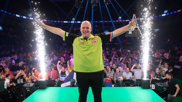 Van Gerwen celebrates after creating more history at The O2