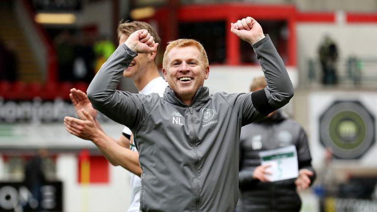 Neil Lennon celebrates Celtic's title success