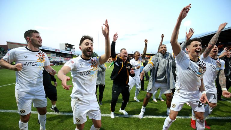 Newport celebrate sealing their passage to Wembley