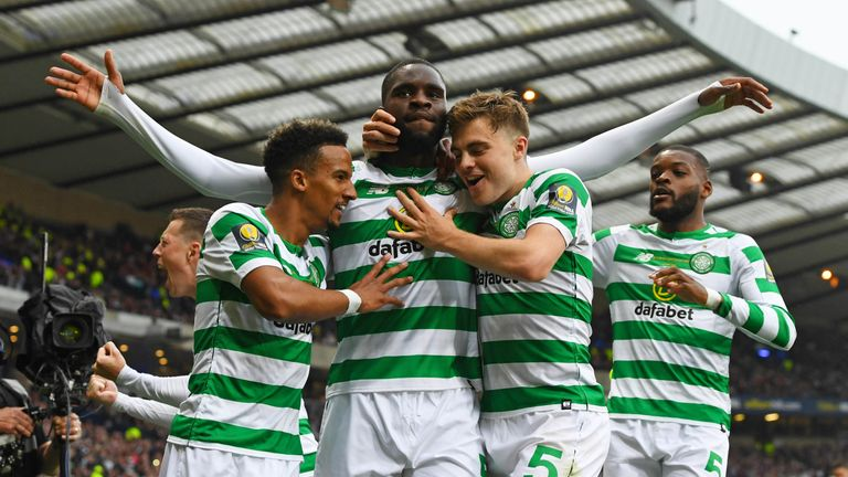 Celtic forward Odsonne Edouard scored twice against Hearts