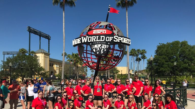 Team England's ParaCheer squad outside ICU World Championships arena in Los Angeles (Picture: Jennifer Boyd)