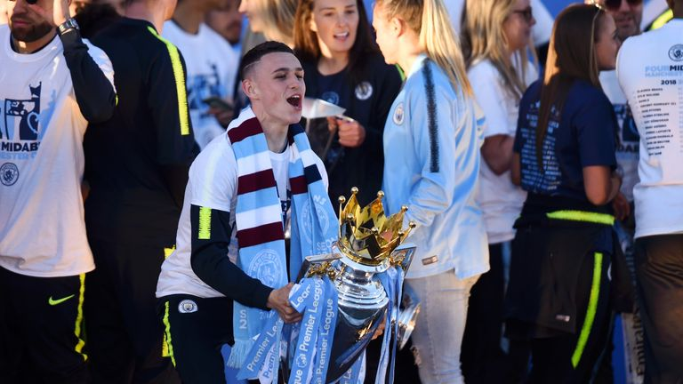 Phil Foden, 18, made 13 Premier League appearances for Manchester City this season