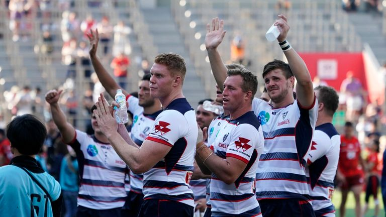 The Rebels celebrate their convincing win over the Sunwolves in Japan