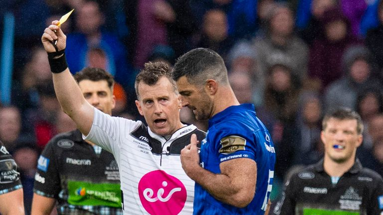 Rob Kearney of Leinster is shown a yellow card by referee Nigel Owens