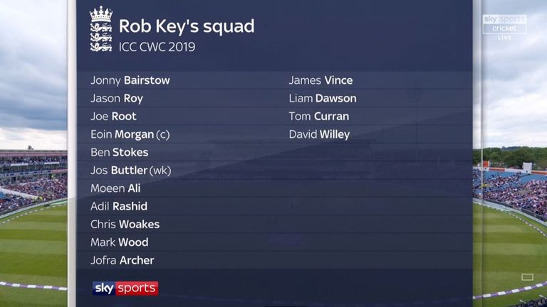 Rob Key's England World Cup squad
