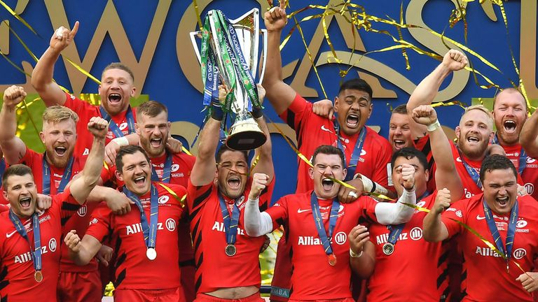 Saracens celebrate becoming the champions of Europe for the third time in their history after victory over Leinster in Newcastle