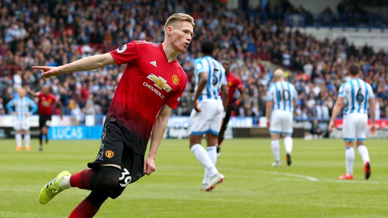 Scott McTominay celebrates after putting Manchester United ahead