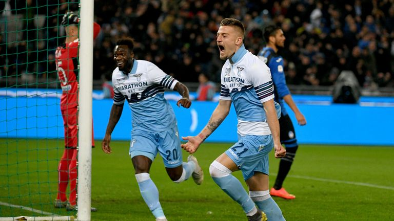 Sergej Milinkovic-Savic celebrates his opening goal for Lazio