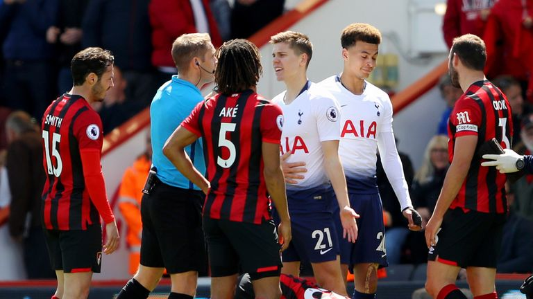 Juan Foyth was sent off for Tottenham just two minutes after coming on as a substitute