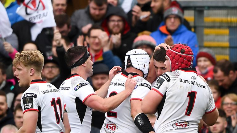 Ulster celebrate after Nick Timoney's crucial first-half try