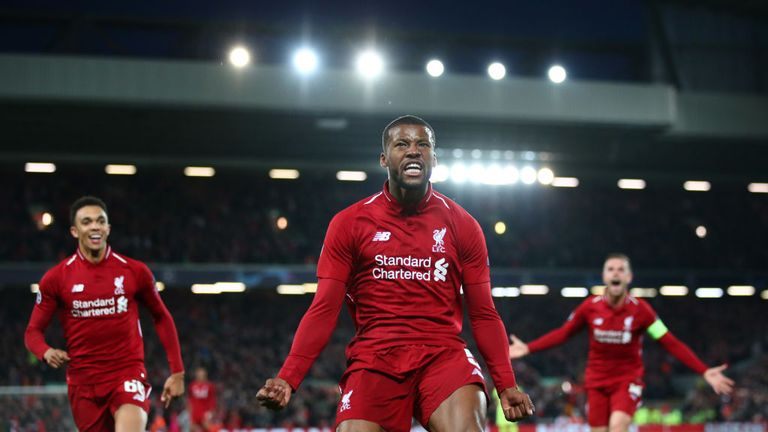 Sub Georginio Wijnaldum struck twice in two minutes to pull Liverpool level on aggregate