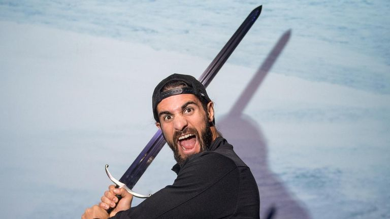 Rollins - the Kingslayer-turned-Beastslayer - got to try out a sword on the Game of Thrones tour in Belfast