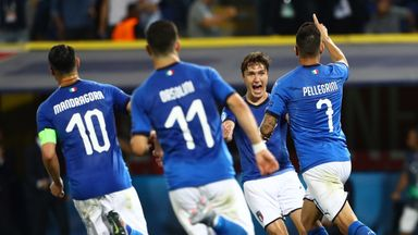 Federico Chiesa celebrates putting Italy in front against Spain at the Euro U21 Championships