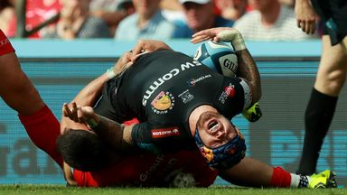 Jack Nowell is injured after being tackled by Sean Maitland of Saracens