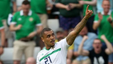 Northern Ireland's Josh Magennis celebrates scoring his side's second goal against Estonia