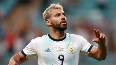 Manchester City striker Sergio Aguero scored for Argentina to help them through to the quarter-finals