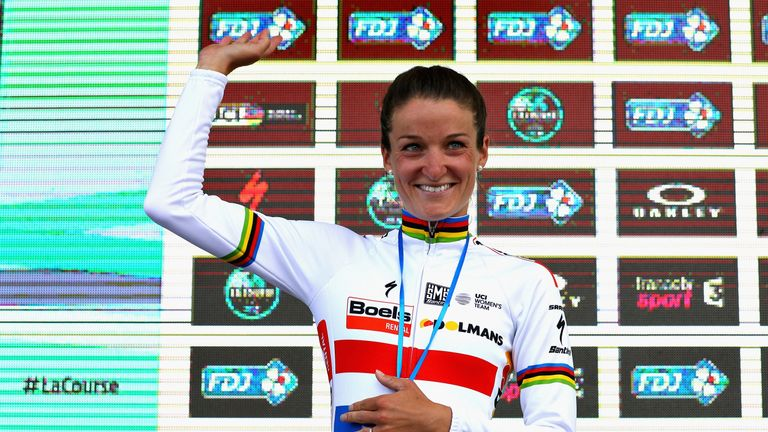 Lizzie Deignan celebrates victory in the Women's Tour