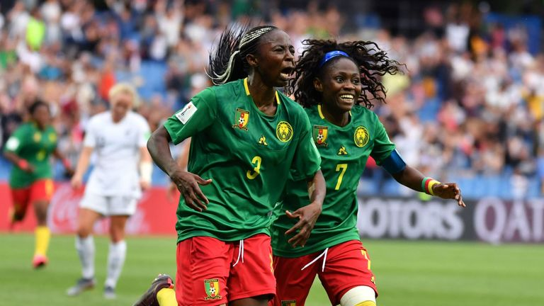 Ajara Nchout Njoya celebrates her last-minute winner which sealed Cameroon's place in the last 16