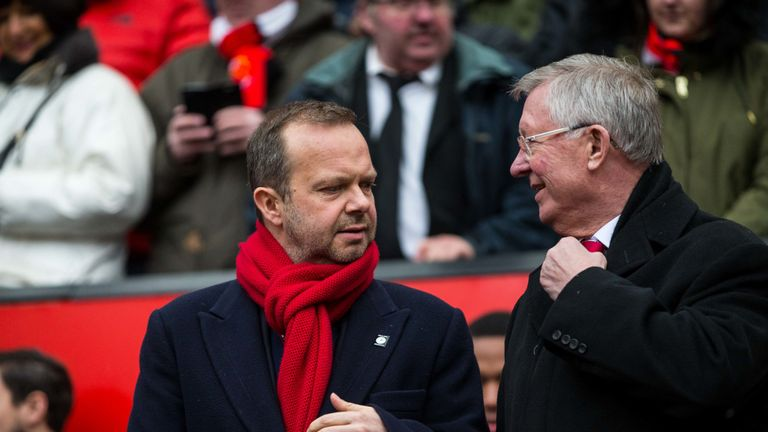 Ed Woodward chats to Sir Alex Ferguson, who has advised Manchester United to appoint Steve Walsh in a consultancy role