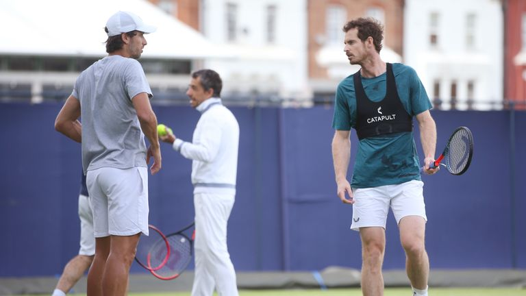 Murray and Lopez enjoy a practice session prior to the Fever-Tree Championships